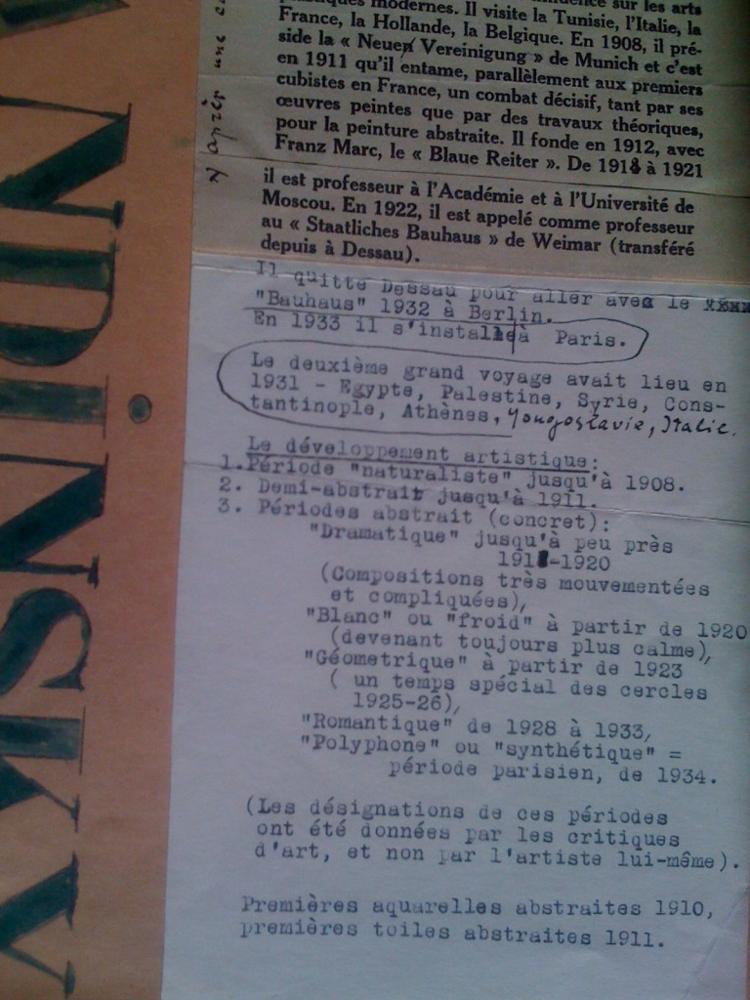 Dossier Vassily Kandinsky Expo Renaissance plastique (1939)